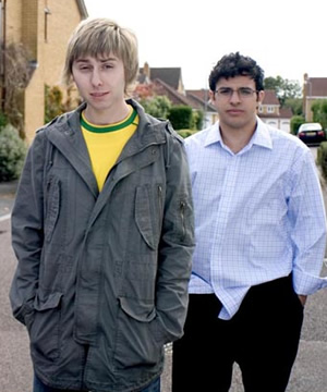 The Inbetweeners. Image shows from L to R: Jay Cartwright (James Buckley), Will Mackenzie (Simon Bird). Copyright: Bwark Productions.