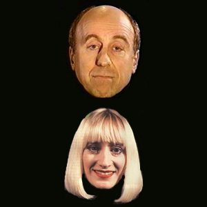 Red Dwarf. Image shows from L to R: Holly (Norman Lovett), Holly (Hattie Hayridge). Image credit: Grant Naylor Productions.