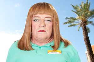 Benidorm. Les / Lesley (Tim Healy). Copyright: Tiger Aspect Productions.