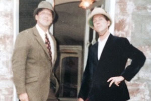 Stephen Fry and Hugh Laurie in Inverness, 1992. Image shows from L to R: Stephen Fry, Hugh Laurie.