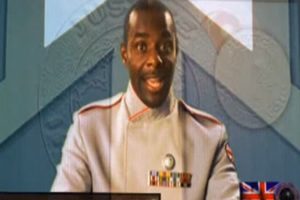 Hyperdrive. Space Marshal Clarke (Paterson Joseph). Copyright: BBC.