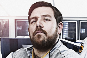 Hyperdrive. Commander Henderson (Nick Frost). Copyright: BBC.