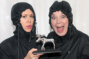 The Kagools with their Amused Moose Comedy Award trophy.