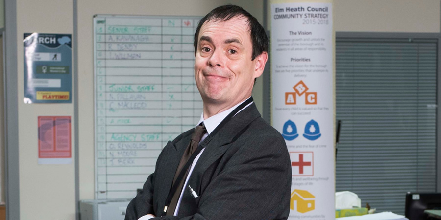 Damned. Martin Bickerstaff (Kevin Eldon). Copyright: What Larks Productions.