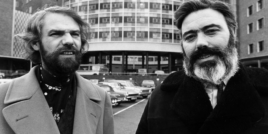 Ray Galton and Alan Simpson outside BBC TV Centre in 1970. Image shows from L to R: Ray Galton, Alan Simpson. Copyright: BBC.
