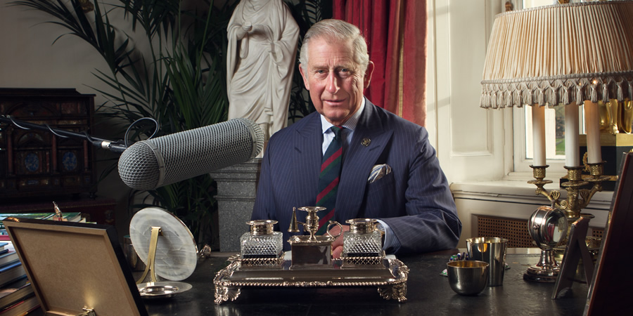 HRH The Prince of Wales recording a message at Clarence House to mark Just A Minute entering its 50th year. Charles Windsor. Copyright: BBC.