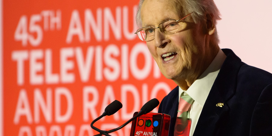 Nicholas Parsons accepts the Harvey Lee Award at the BPG Awards 2019. Nicholas Parsons. Copyright: BPG / Virgin Media.