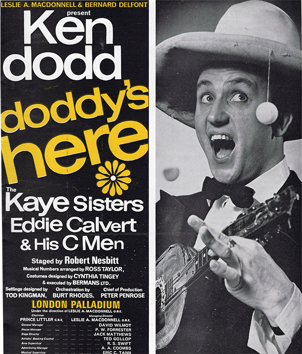 Programme cover for Ken Dodd's Doddy's Here at the London Palladium. Ken Dodd.