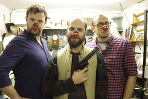 Image shows from L to R: Ciarán Dowd, Owen Roberts, James McNicholas. Copyright: Comic Relief.
