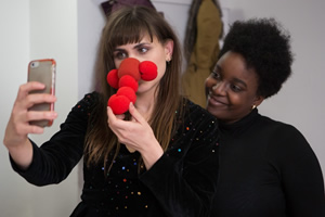 Comic Relief Originals: The Designers. Image shows from L to R: Natasia Demetriou, Lolly Adefope. Copyright: Comic Relief.