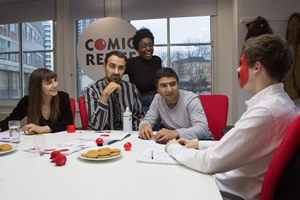 Comic Relief Originals: The Designers. Image shows from L to R: Natasia Demetriou, Jamie Demetriou, Lolly Adefope, Nick Mohammed, Rhys James. Copyright: Comic Relief.
