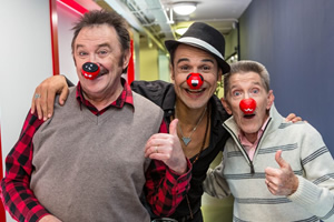 Image shows from L to R: Paul Elliott, Chico, Barry Elliott. Copyright: Comic Relief.