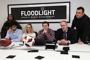 Floodlight. Image shows from L to R: Theresa Godly, Rayo Patel, Roz Brierley, Noah James, Mark Keegan, Richard S Winter.